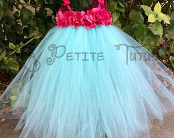 Floral tutu dress, floral tutu dress, pearl centers, infant tutu dress, toddler tutu dress, photo prop, tutu, clothing, girls tutu dress