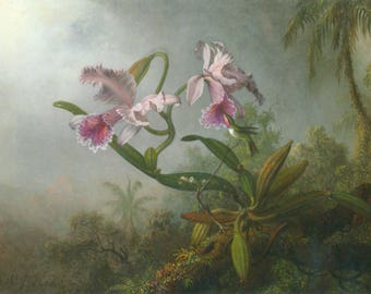Tile,Orchid Art,Flower Painting,Hummingbird,Nature Scene,Bird,Still Life,Christmas,God,Gift for her,Housewarming,Home Decor,Wall hanging