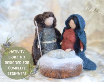 diy Nativity needle felting craft kit - comprehensive photo tutorial and gorgeous materials