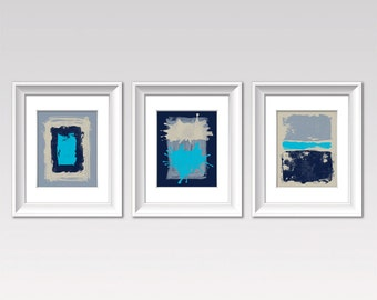 Set of Three Prints, Modern Art, Contemporary Print, BLUE GRAY SET of Three,  Color Field Artwork, Abstract Art Print, Rainbow Colors