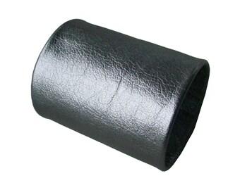 Wide leather cuff, Tattoo Cover, Basic 3 inch, Forearm Cuff, Niobium silver metallic leather cuff, also in BLACK , non metal free jewelry