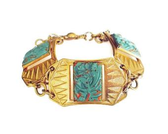 Bloodstone Glass Bracelet - Art Deco Style, Egyptian Revival, Gold Tone, Vintage Bracelet, Exotic Jewelry, Vintage Jewelry