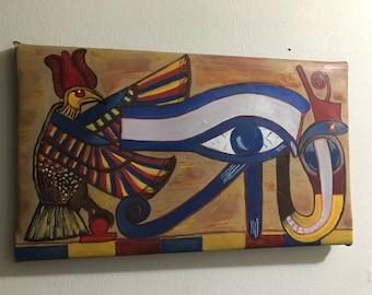 Evil eye oil painting