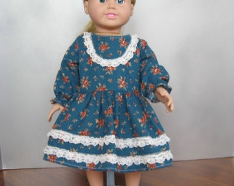 Dress with lace trim, American Girl, 18 inch doll clothes
