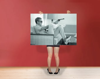 Steve McQueen Sofa & Gun The King of Cool  Poster Rolled Art Print Photo Black and White