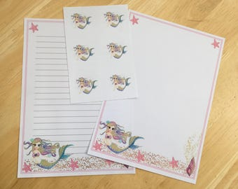 Fantasy mermaid letter writing paper set and 6 envelope seals