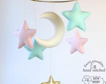 Baby Mobile, White Baby Pink Mint Gold Baby Mobile, Baby Crib Mobile, Stars Baby Mobile,  Nursery Decor, Gift Packaging
