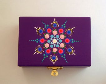 SHIPS FREE-Wood jewelry storage Mothers Day gift idea hand painted mandala dot art wooden trinket stash box spring ultra violet 3D neon glow