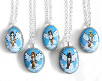 Custom Guardian Angel Necklace, Portrait Painting, Memorial Pendant, Hand Painted Pebble Art, Loss of Loved One, Personalized Gift for Her