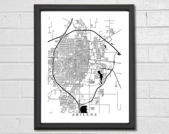 Abilene Map Art - Map Print - Black and White Print - Texas - Graduation Gift - Wedding - Housewarming Birthday Travel Gift Engagement
