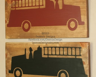 Firefighter Wall Art, Firefighter Decor, Distressed Wall Decor, Custom Wood Sign, Firetruck  - Set of 2 Fire Truck Accent Signs