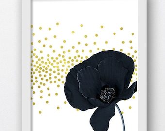 Black Poppy, Digital Print, Black Poppy Gold Foil Spatter, Black Poppy Floral Prints, Poppy Wall Art, Floral Wall Art, Flower Prints