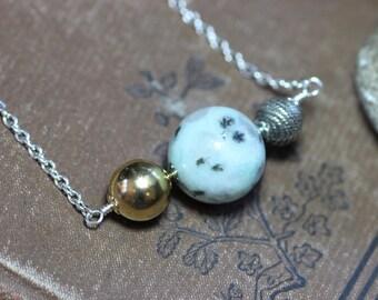 Earth Sun Moon Necklace Sesame Jasper Silver Necklace Black Mint Green Bead Necklace