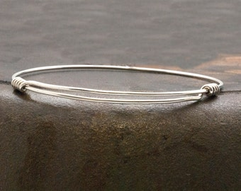 Sterling Silver Bracelet, Man/Woman Adjustable Bangle, Thin Sterling Wire Bangle Bracelet, Minimalist Silver Expandable Bracelet