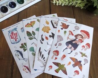 Nature Girls Planner Sticker Sheet,  Flight And Fall Stickers, Bujo Stickers, Sticker Set, Sticker Sheet, Kiss-Cut