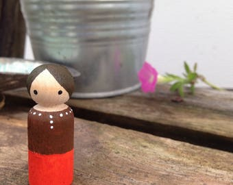 Painted Peg Doll with Brown Hair
