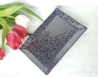 Vanity Tray | Mirrored Charcoal & Black