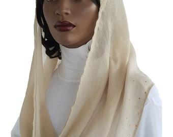 Kaatnu Veil™ Natural Gold Studded Ultra Lightweight Headcovering Christian Scarf Catholic Veil Chapel Veil Mass Veil Prayer Scarf Handmade