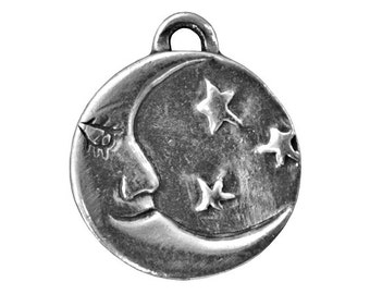 Danforth Man in the Moon 13/16 inch ( 21 mm ) Pewter Pendant Charm