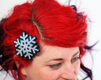 Snowflake Hair Clip, Christmas Barrette, Teal and Rhinestones- Black FRiday Cyber Monday