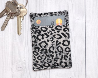 Slim card wallet - Black and white animal print - Fabric credit card wallet - Credit card case - Business card case - Leopard print wallet