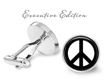 Peace Sign Cufflinks - Peace Cufflinks - Love Cufflinks - Hippie Cufflinks - Retro Peace Sign Cuff Links (Lifetime Guarantee) S0382