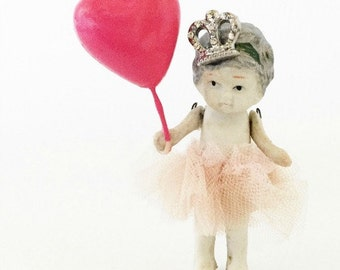 Vintage Bisque Lucy Doll with Shiny Pink Balloon Cupcake Cake Topper Birthday Heirloom