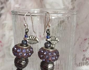 Purple Rhinestone Studded Merano Glass Bead Earrings