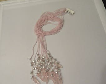 Rose Quartz and Keshi Pearl Necklace Fancy