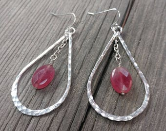 Sterling Silver and Rose Quartz Tear Drop Earrings