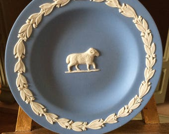 Wedgwood Potttery. Astrological Zodiac Sign Aries the Ram. Horoscope Star Sign March April. Blue Wedgwood Pottery Handmade Pottery Aries Ram