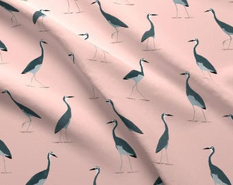 Dusty Pink Heron Fabric - Grey Heron Pattern By Melissa Boardman - Pink + Gray Watercolor Bird Cotton Fabric By The Yard With Spoonflower