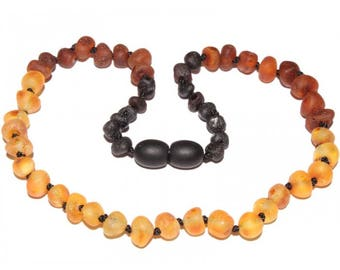 Genuine Raw Baltic Amber Baby Teething Necklace Reversed Rainbow