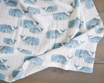 whale swaddle blanket, muslin nautical baby swaddle, organic swaddle blanket, whales swaddle
