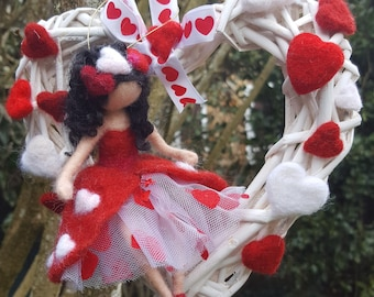 Mobile heart and felted fairy Valentine inspired by Waldorf