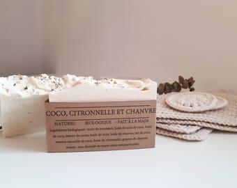 Lemongrass, coconut and hemp soap. Handmade, organic, vegan, plant-based. Collaboration with Lily