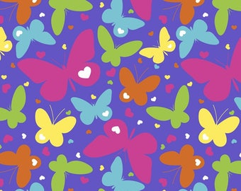 Rainbow Butterflies - Purple Fleece Fabric by David Textiles by the yard