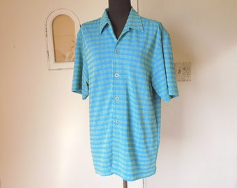 Vintage 60's Men's Shirt, Turquoise Blue and Lime Green Stretch Knit,  Men's Medium, Chest 41