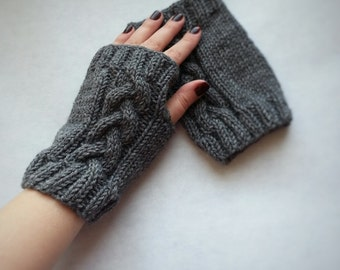 Gray knit gloves womens knit gloves knit fingerless mittens wool mitts womens hand mittens knit hand warmers knit seamless