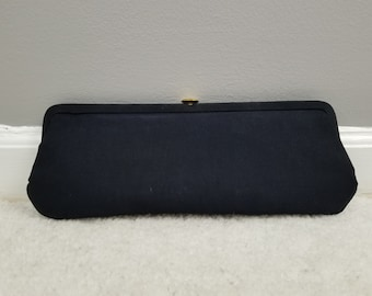 Navy Blue Black Faille Bobby Jerome Clutch Purse with Original Box