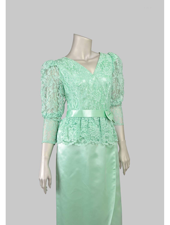 Vintage 80s Cocktail Dress Mint Green Dress Satin Dress Lace
