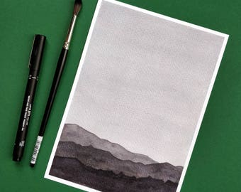 Blue minimal mountains watercolor - giclee print