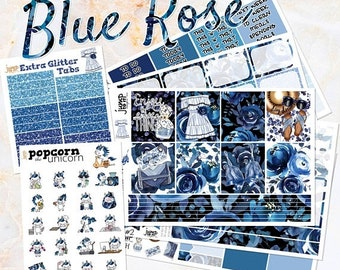 NewRELEASE Blue Rose set kit weekly stickers - for Erin Condren HORIZONTAL Planner - floral flowers girls fashion summer