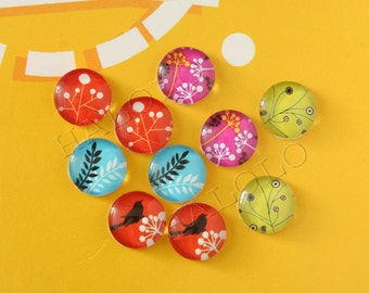 10pcs handmade assorted colorful bird and parsley round clear glass dome cabochons 12mm (12-1075)