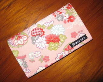 Checkbook Cover Japanese Asian Floral Design Pink