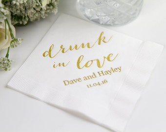 Drunk in Love Personalized Wedding Napkins (Style 5)