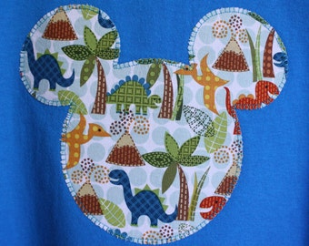Boys' or Men's Custom Disney Inspired Applique Mickey Ears T-shirt Dinosaurs Animal Kingdom Vacation Shirt Tee Pick Your Size 12M-Adult 2XL