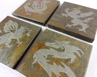 Dragon Coasters Art Coasters Set - 4 Carved Stone Coasters, Quality Etched Slate Coasters for Drinks, Gryphon Fantasy Decor, Bar Accessories