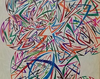 Original Abstract Art, Abstract Drawing, Geometric Shapes, Geometric Art