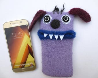 "Smartphone monster Beagle ""Billy"", felted, cellphone case, sleeve, Samsung Galaxy A5, samsung Galaxy S8, mobile phone monster, felt, wool,"